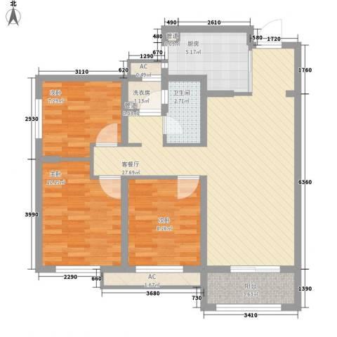 加州壹号3室1厅1卫1厨99.00㎡户型图