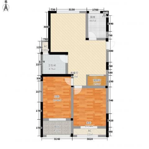 世纪华城二期铂晶湾2室1厅1卫1厨105.00㎡户型图