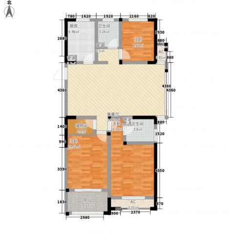 世纪华城二期铂晶湾3室1厅2卫1厨141.00㎡户型图
