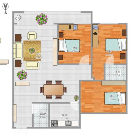国际大都会3室1厅2卫1厨114.00㎡户型图