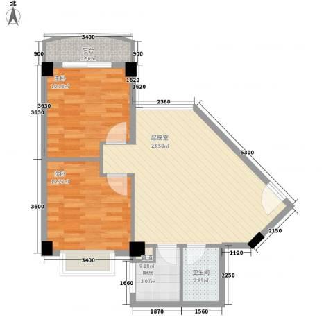颐和上院二期2室0厅1卫1厨67.00㎡户型图