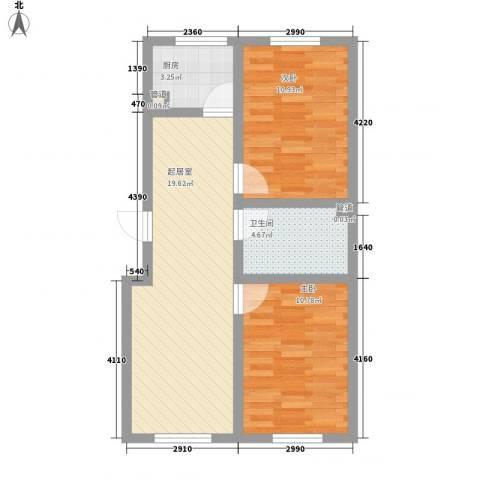 大江原筑2室0厅1卫1厨80.00㎡户型图