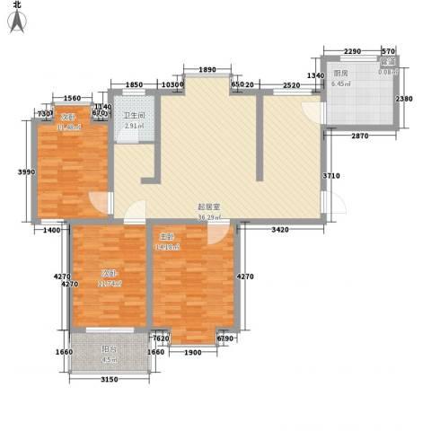 文彦山庄3室0厅1卫1厨124.00㎡户型图