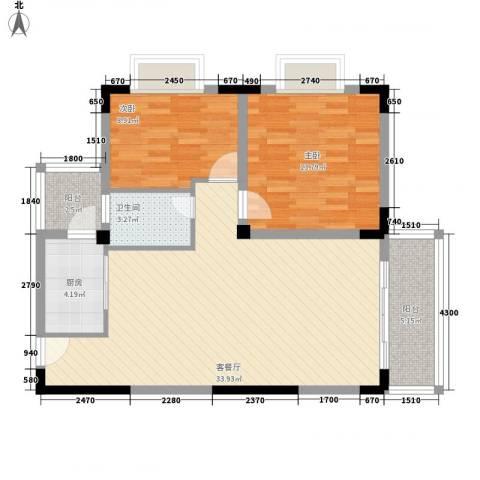 三亚印象2室1厅1卫1厨102.00㎡户型图