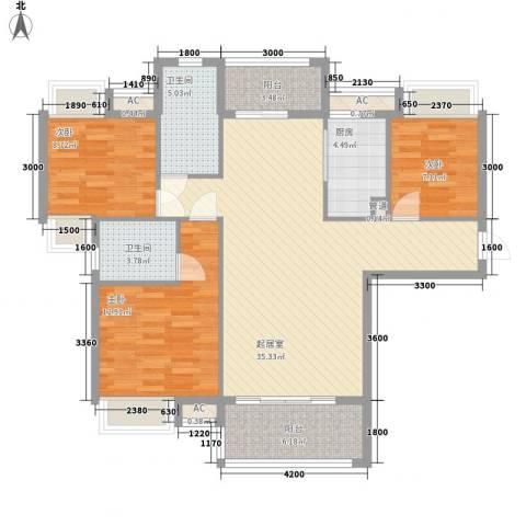 东方红广场3室0厅2卫1厨88.74㎡户型图