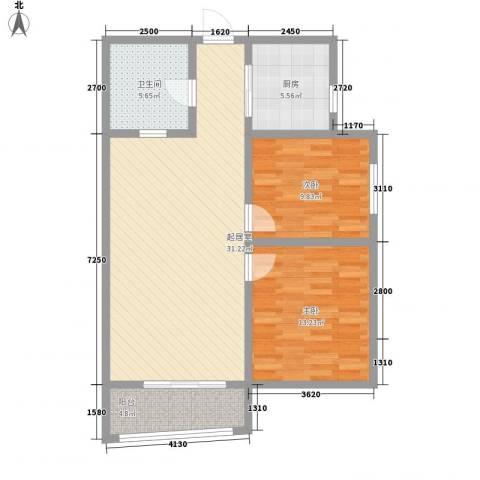 丰泽园2室0厅1卫1厨100.00㎡户型图