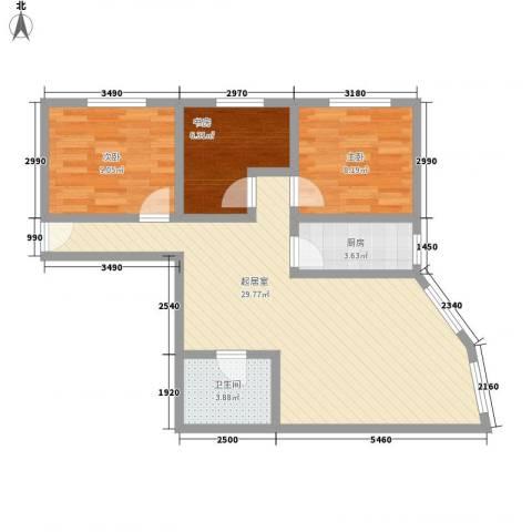 丰泽园3室0厅1卫1厨88.00㎡户型图