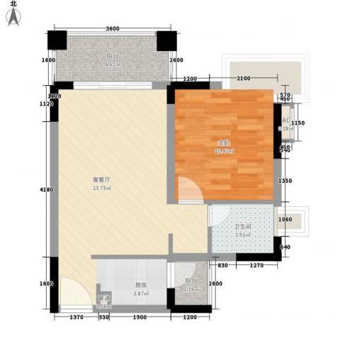 五龙桂园1室1厅1卫0厨55.00㎡户型图