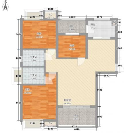 东方红广场3室0厅2卫1厨80.28㎡户型图