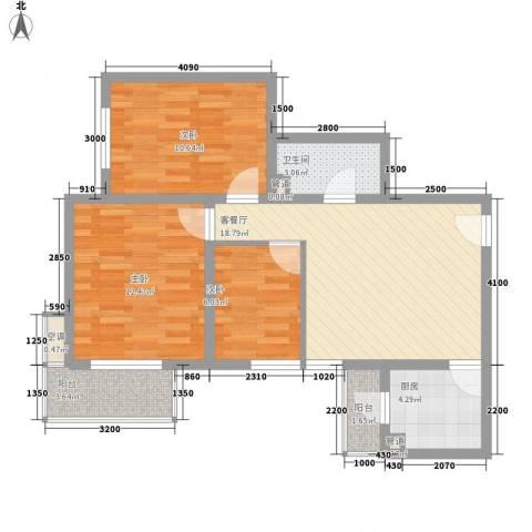 长风新城公元20103室1厅1卫1厨84.00㎡户型图