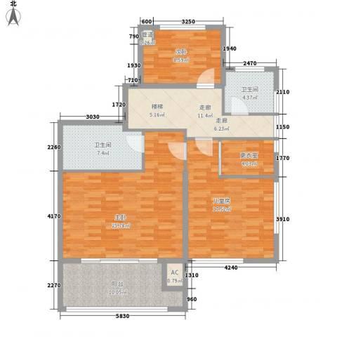 商城凤凰印象3室0厅2卫0厨128.00㎡户型图