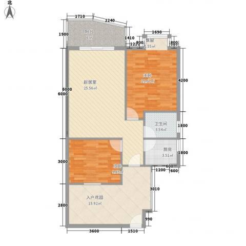 新城海世界2室0厅1卫1厨110.00㎡户型图