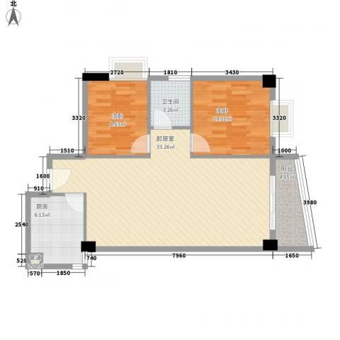 颐和上院二期2室0厅1卫1厨87.00㎡户型图