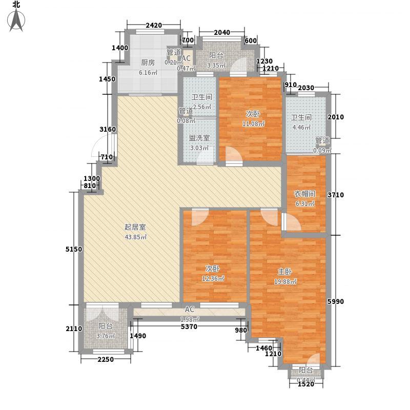 万盛理想国户型图B-2#_207五期香郡洋房户型图 3室2厅2卫1厨