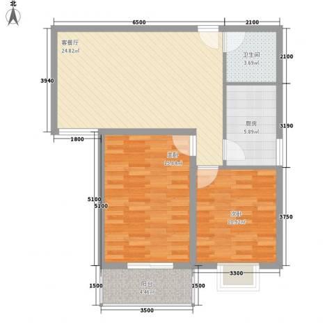 长风新城公元20102室1厅1卫1厨95.00㎡户型图