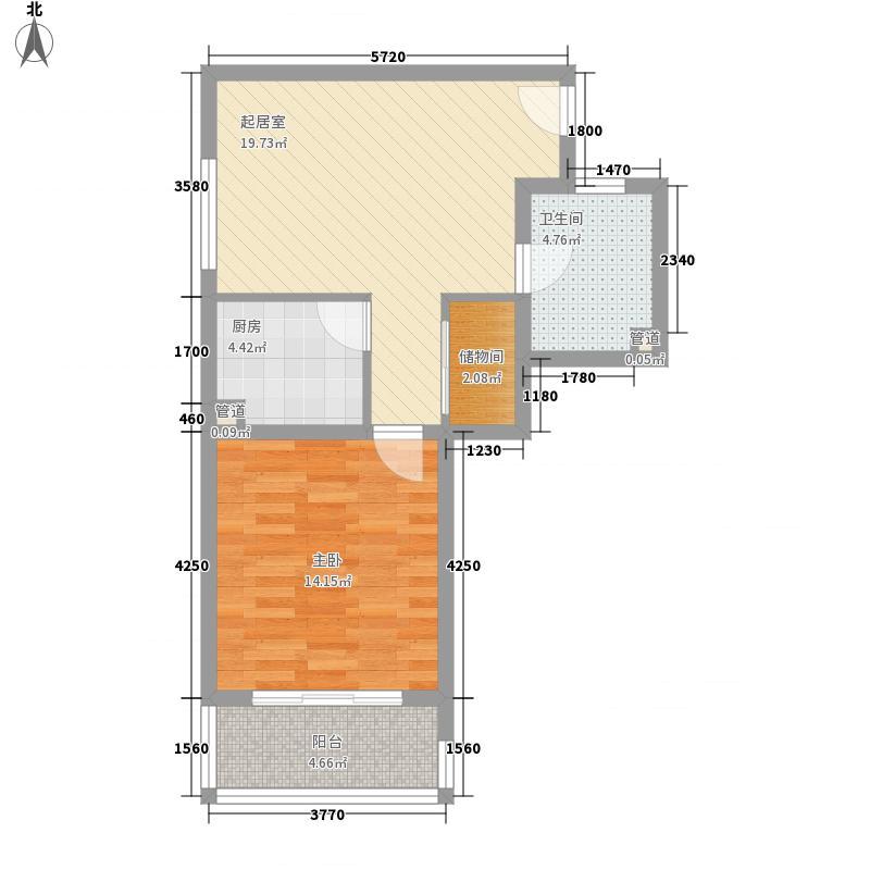 欣宏嘉园72.39㎡上海-千禧静安户型1室1厅1卫1厨
