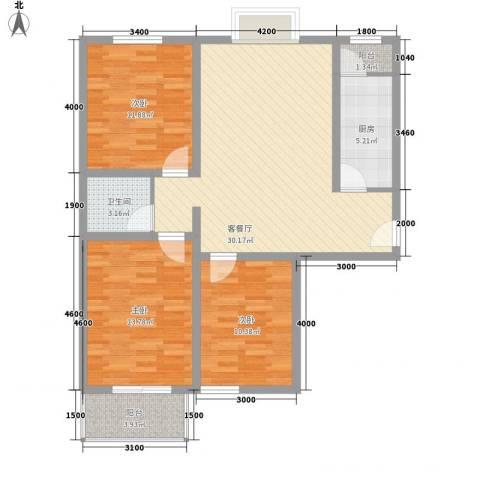 长风新城公元20103室1厅1卫1厨118.00㎡户型图