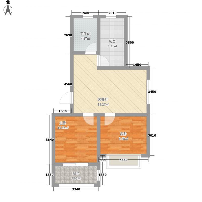 天一锦城78.43㎡多层1#标准层E户型2室1厅1卫
