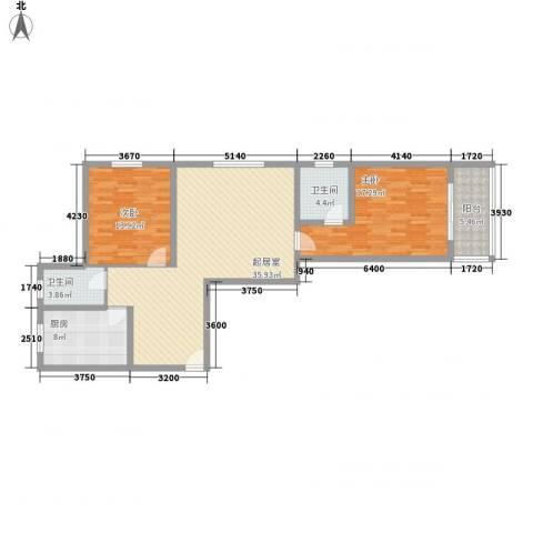 虹桥向日葵公寓2室0厅2卫1厨126.00㎡户型图
