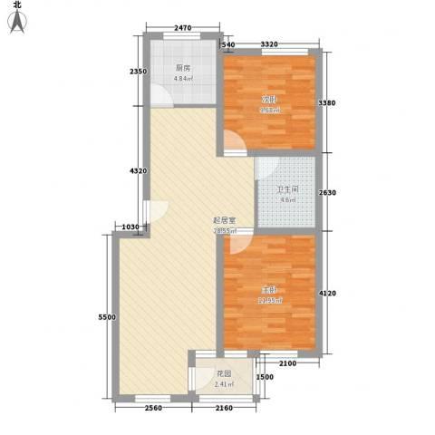 南山别院二期2室0厅1卫1厨90.00㎡户型图