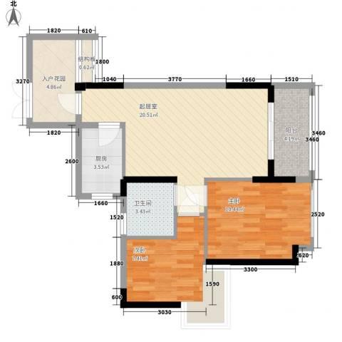 广东街三期2室0厅1卫1厨54.99㎡户型图