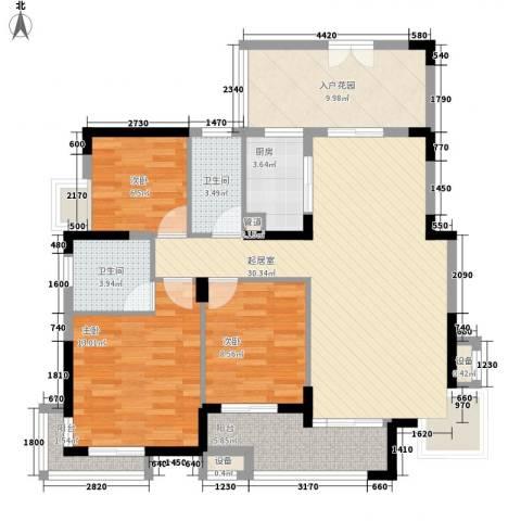 金域中央3室0厅2卫1厨110.00㎡户型图