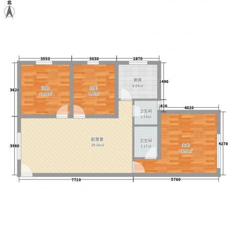虹桥向日葵公寓3室0厅2卫1厨111.00㎡户型图