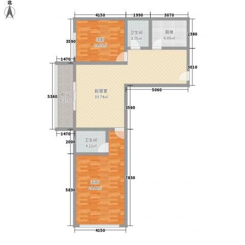 虹桥向日葵公寓2室0厅2卫1厨131.00㎡户型图