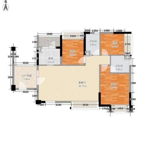 万科城市高尔夫花园别墅3室1厅2卫1厨128.00㎡户型图