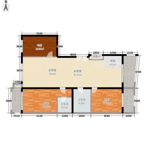 亚泰豪苑3室0厅2卫0厨187.00㎡户型图