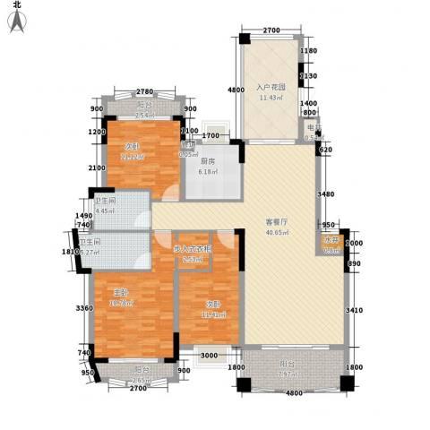 五龙桂园3室1厅2卫1厨143.00㎡户型图