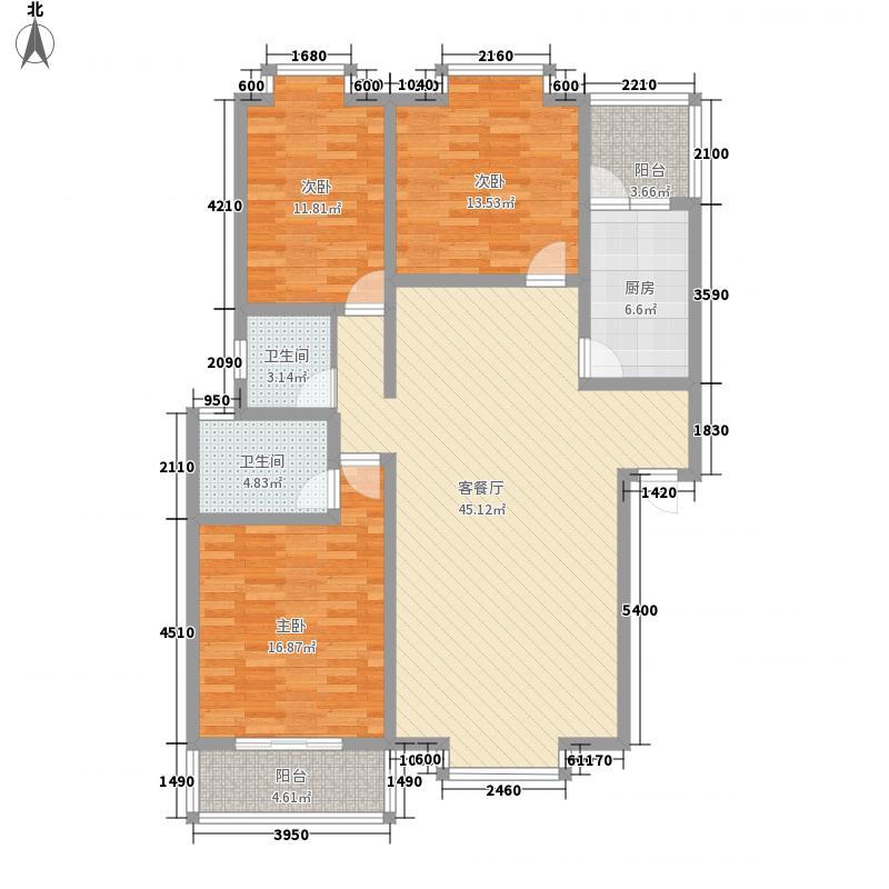西区御景134.17㎡R户型3室2厅2卫1厨