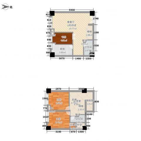 天凤国际大厦3室0厅2卫1厨82.00㎡户型图