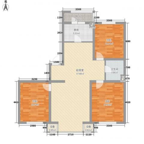 恒大城二期3室0厅1卫1厨121.00㎡户型图