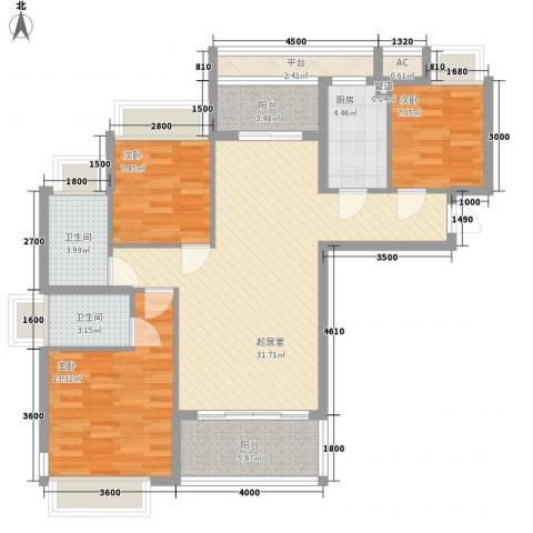 东方红广场3室0厅2卫1厨83.55㎡户型图