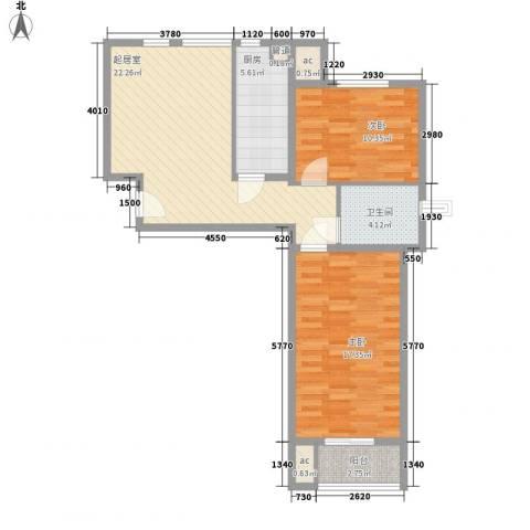 盛秦国际别墅2室0厅1卫1厨73.00㎡户型图