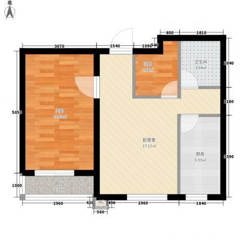 棉一宿舍2室0厅1卫1厨65.00㎡户型图