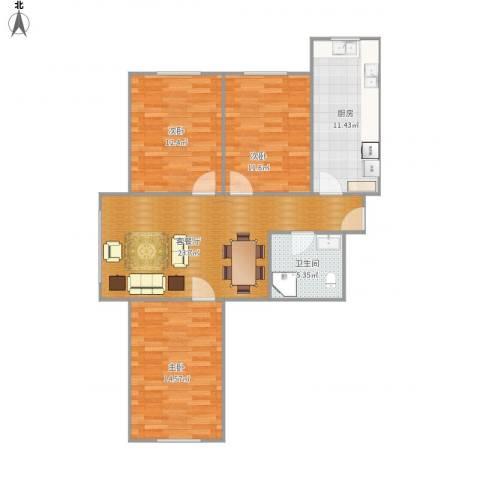 中信御园3室1厅1卫1厨105.00㎡户型图