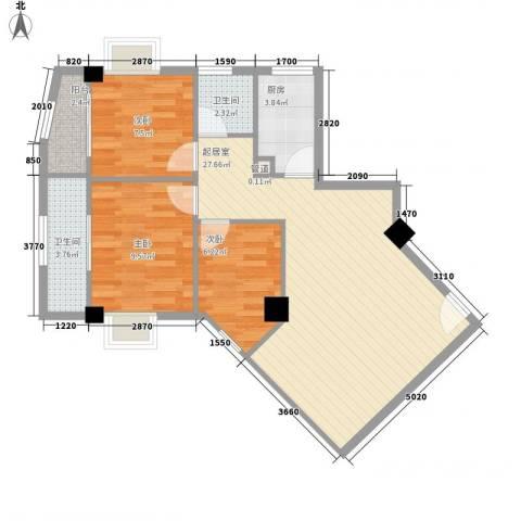 颐和上院二期3室0厅2卫1厨92.00㎡户型图