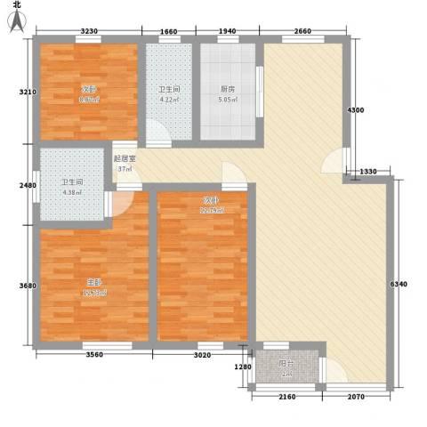 南山别院二期3室0厅2卫1厨127.00㎡户型图