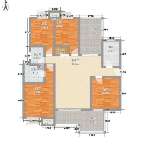 国信世家4室1厅2卫1厨162.00㎡户型图