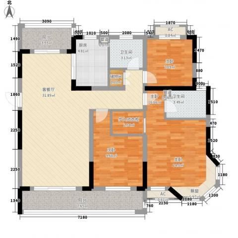 广弘城国际社区3室1厅2卫1厨108.00㎡户型图