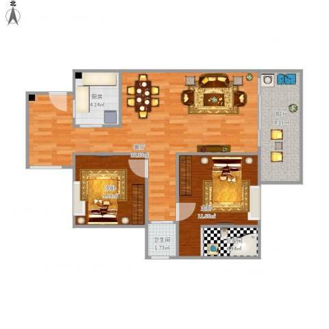 东方花园2室1厅2卫1厨95.00㎡户型图