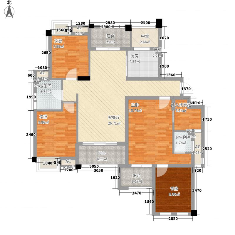 筑家尚水东郡144.15㎡3#C1C2子母房户型4室2厅2卫1厨