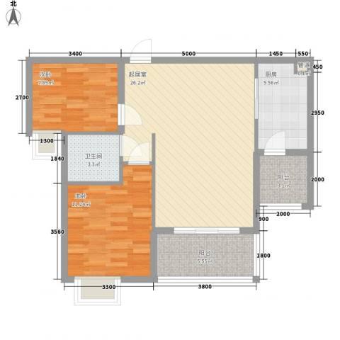 东方红广场2室0厅1卫1厨62.95㎡户型图