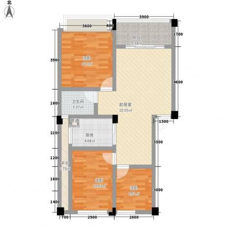 在水一方二期3室0厅1卫1厨74.00㎡户型图