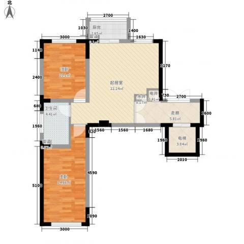 长江花园2室0厅1卫1厨78.00㎡户型图