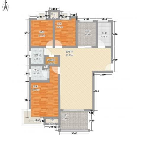 国信世家3室1厅2卫1厨137.00㎡户型图