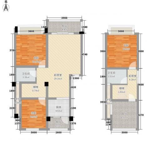 在水一方二期3室0厅2卫1厨97.92㎡户型图
