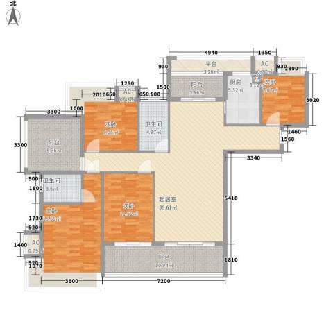 东方红广场4室0厅2卫1厨142.00㎡户型图